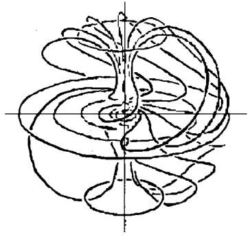 Alfred Wakeman's bipolar toroidal vortex, from Charles A. Yost, Network Notes: Toroidal Vortex Flow.  Spacecraft Journal, July/Aug/Sept 1991.