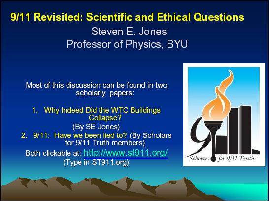 Slide 01 of 9/11 Revisited: Scientific and Ethical Questions
