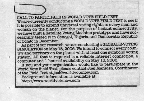 CALL TO PARTICIPATE IN WORLD VOTE FIELD TEST