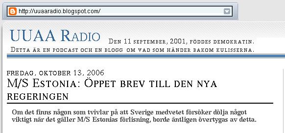 M/S Estonia: Öppet brev till den nya regeringen (del 1 av bild i 3 delar)
