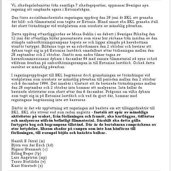 M/S Estonia: Öppet brev till den nya regeringen (del 2 av bild i 3 delar)